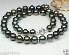 Natural AAA 9-10mm Black Tahitian Cultured Pearl Necklace 18""