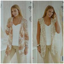 Knitting Pattern facile da Donna Lavorato a Maglia Lungo Cascata Cardigan & Gilet OPPIO 4469