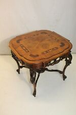 Gorgeous French Inlaid Marquetry Walnut Hand Carved Coffee Table, c. 1930