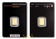 1g Argor Heraeus Goldbarren 1 Gramm 9999 Feingold Gold Barren mit Zertifikat
