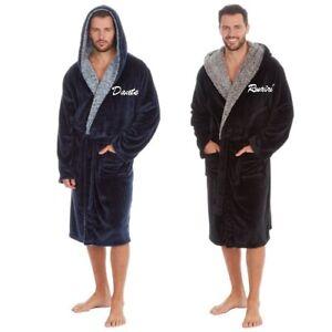 PERSONALISED Mens Gents LUXURY Fleece Dressing Gown Hooded Robe Black/ Navy Gift