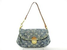 Authentic LOUIS VUITTON Monogram Denim Mini Pleaty M95050 Blue Shoulder Bag