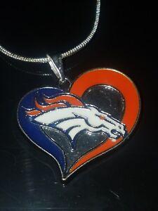 Denver Broncos Heart Pendant Necklace Sterling Silver Chain NFL Football