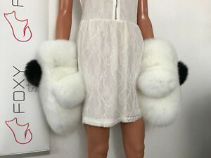 Pure white Fox Fur Huge mittens with black removable pompons.