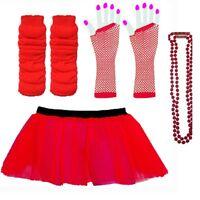 NEON TUTU FANCY DRESS GLOVES LEG WARMERS AND BEADS 1980S FANCY DRESS HEN PARTY C