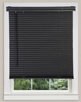 "Cordless Window Minds Mini Blinds 1"" Slats Black Vinyl Blind"