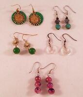 Pierced Dangle Earrings Lot of 5 Fashion Jewelry Multiple Colors Designs Resale