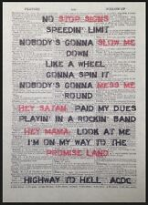 Highway To Hell ACDC Lyrics Print Vintage Dictionary Page Wall Art Picture Red