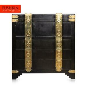 STRIKING 20thC CHINESE EBONISED CHEST OF DRAWERS WITH TOP LID c.1940