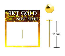 Flat 2mm Dome Top Real Yellow 9Kt Gold Bend L Yourself Nose Stud 22g  #G9D