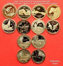 2009 - 2018 Sacagawea 12 Coin S Set w10 Proofs/1 Reverse Proof/1 Enhanced Uncirc