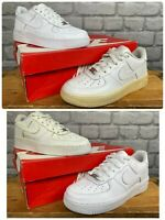 NIKE AIR FORCE 1 LOW BASKETBALL WHITE LEATHER TRAINERS CHILDRENS *GRADE B*