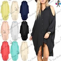 Womens Baggy Loose Oversized Batwing High Low Dipped Hem Shirt Dress Ladies Top
