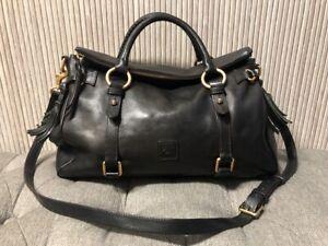 Authentic Dooney & Bourke Florentine Black Leather Medium Shoulder Satchel