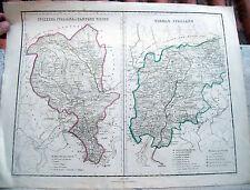1870 CARTA GEOGRAFICA DEL TIROLO ITALIANO CANTON TICINO. BOLZANO TRENTO ROVERETO