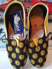 Forever NFL Pittsburgh Steelers Women Canvas Stripe Shoes (S) 5-6 w/Team Lanyard