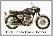1966 HONDA BLACK BOMBER - JUMBO FRIDGE MAGNET - VINTAGE CLASSIC MOTORCYCLE BIKE