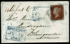 1841 ONE PENNY RED 1d ON ENVELOPE CANCELLED BY A BLUE KINGUSSIE BOX CANCEL & 131