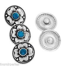 5 Bouton Pression Click Strass Bleu Fleur Pour Bracelet Personnalisé 20mm