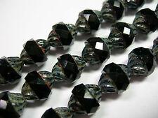 14 11x10mm Czech Glass Faceted Jet Black Travertine Turbine Beads