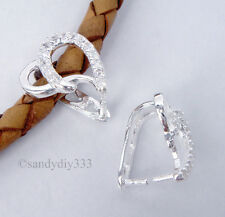 1x BRIGHT STERLING SILVER CZ CRYSTAL HEART PENDANT PINCH BAIL CLASP 11.2mm #1667
