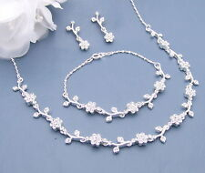 FOUR Necklace Sets Bridal Wedding Bridesmaid Gift BRACELET Silver Sp CRYSTAL #30