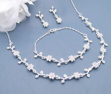 Three Necklace Sets Bridal Wedding Bridesmaid Gift w Bracelet Crystal Silver Sp