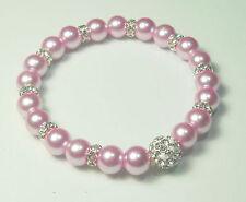 Funkelndes Perlen Armband rosa  19cm  Strassperle Strass Rondelle NEU