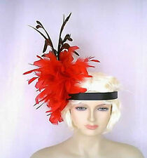 Vegas Flapper Follies Red and Black Feather Headband Headpiece Handmade in USA