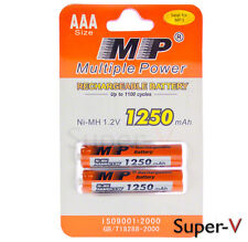 Multiple Power Rechargeable AAA MP Blister Pack (2 cells) 1250 mAh Ni-MH 1.2V