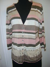 Gilet pull cardigan RODIER SOIE rose marron ecru rayé  taille M comme neuf