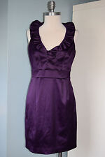 Just Taylor Nordstron purple ruffle neck sheath dress Excellent 4 6 cocktail