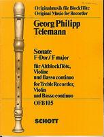 TELEMANN : Sonate F-Dur für Altblockflöte, Violine und Basso continuo