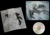 Airbrush Schablone Step by Step / Stencil /  031 fliegender Drache mit Anl. CD