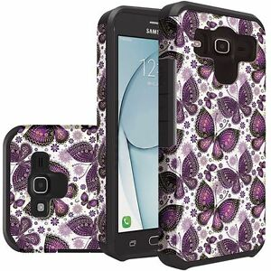 Purple Butterfly Durable Dual Layer Hybrid Cover for Samsung Galaxy On5/G550