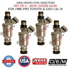 Set of 4 OEM DENSO FUEL INJECTORS for 1988-1993 Toyota/Geo 1.6L I4 #23250-16120