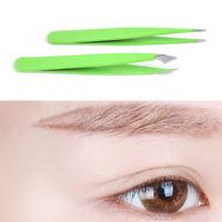 2Pcs/Set Green Hair Removal Eyebrow Tweezer Eye Brow Clips Beauty Makeup ToolsDS