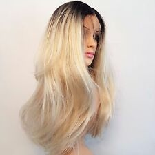 Synthetic Silky Straight Brown Roots/Light Blonde Ombre Wig 18""