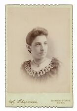 """1890s Cabinet Photo Pretty Young Lady with Necklace Chapman NYC 4.25""""x6.5"""""""