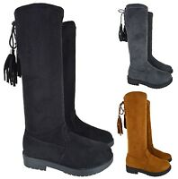 KIDS GIRLS HIGH OVER THE KNEE STRETCH FLAT LOW HEEL FLAT CHILDREN BOOTS SIZE 8-2