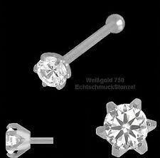 750 Weiß Gold Nasenpiercing 6 Stotzen 2,5 mm m. Zirkonia Nasenstecker Kugelstift