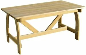 Outdoor Wooden Table Garden Impregnated Pinewood Dining Furniture Patio 150x74cm