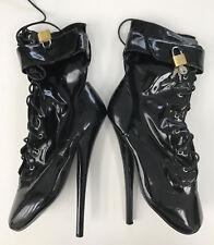 Ballet Boots 21cm Sexy black patent locked high heels uk6 us8 38 39