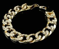 MENS YELLOW GOLD FINISH LAB DIAMOND THICK MIAMI CUBAN LINK BRACELET CHAIN