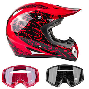 Adult Red Off Road Helmet Combo ATV Red or Black Goggles DOT