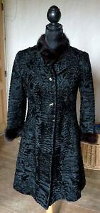 manteau vintage femme astrakan col et emmanchures vison