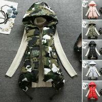 Women's Winter Long Camouflage Vest Warm Hooded Jacket Waistcoat Cotton Coat