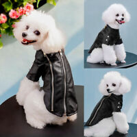 Dog Leather Jacket for Small Dogs Black Waterproof Winter Coat Pet Cat Clothes