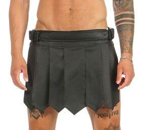 XS-3XL Gladiator Kilt Real Leather Legionnaire Skirt Black Belt & Buckles Typa