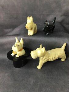 VINTAGE Scottie Dog Celluloid Toys And Figures LOT of 4 - Cracker Jacks ? JAPAN